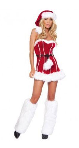 Красное платье Санты с мехом (46-48) - Новогодние костюмы, р.46-48