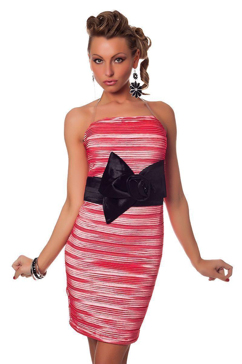 Розовое гофрированное платье (42-44) -  Коктейльные платья