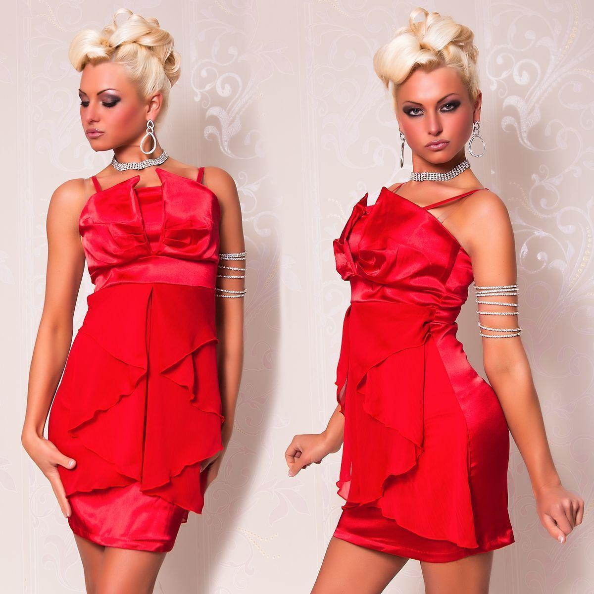 купить Красное платье с шифоном (44) недорого