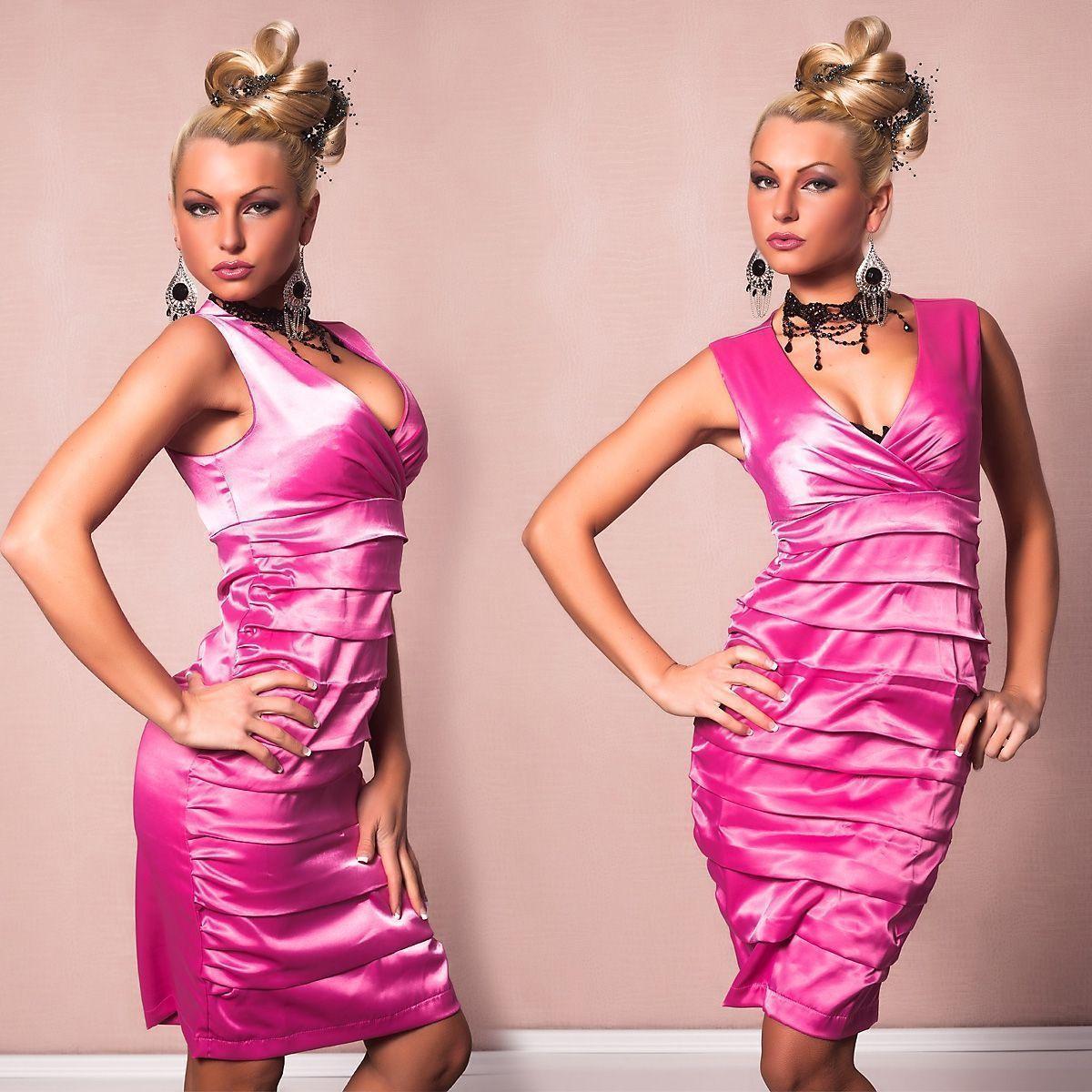 Розовое платье с горизонтальными сборками (46) -  Коктейльные платья