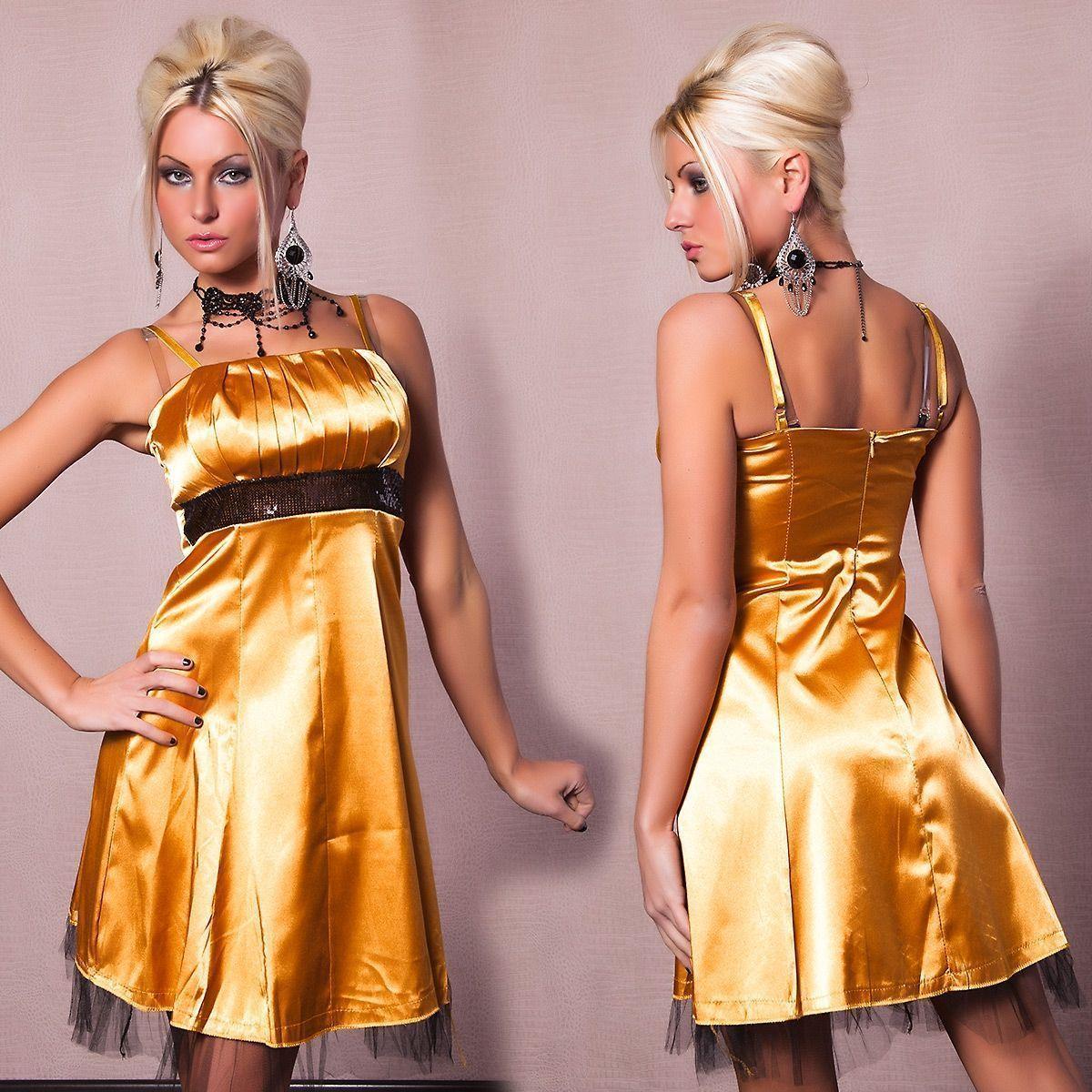 Золотое платье с черным поясом (42) Catch Fashion 4176c