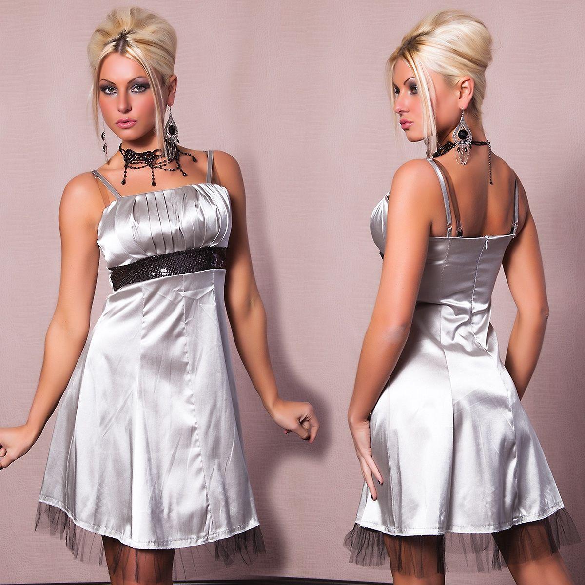 Серебряное платье со вставкой (42) Catch Fashion 4171c
