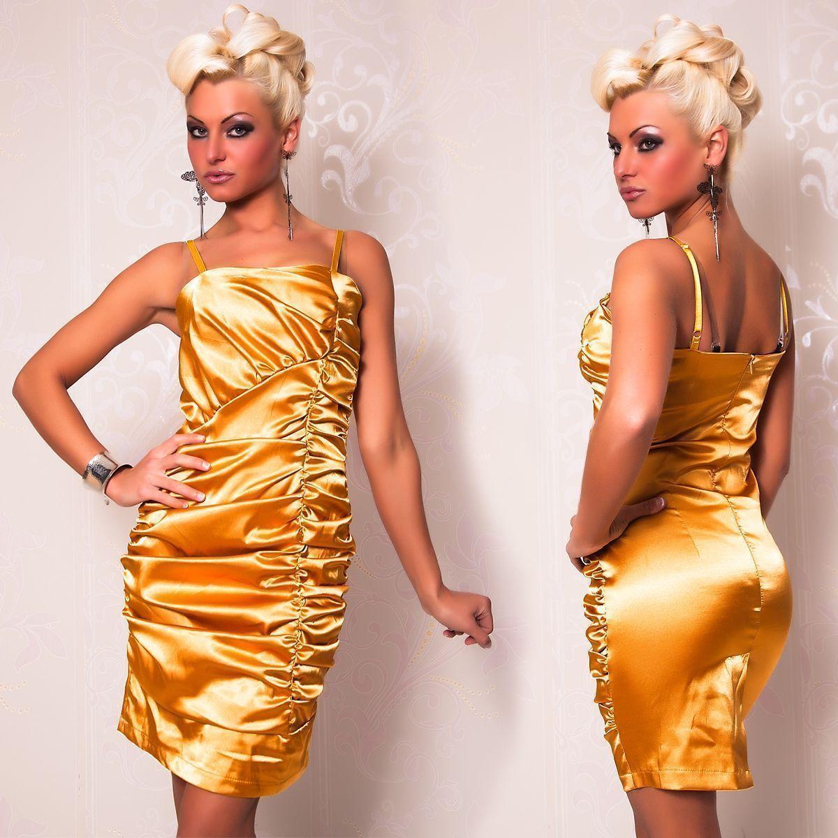Золотое платье со складками (46) платья