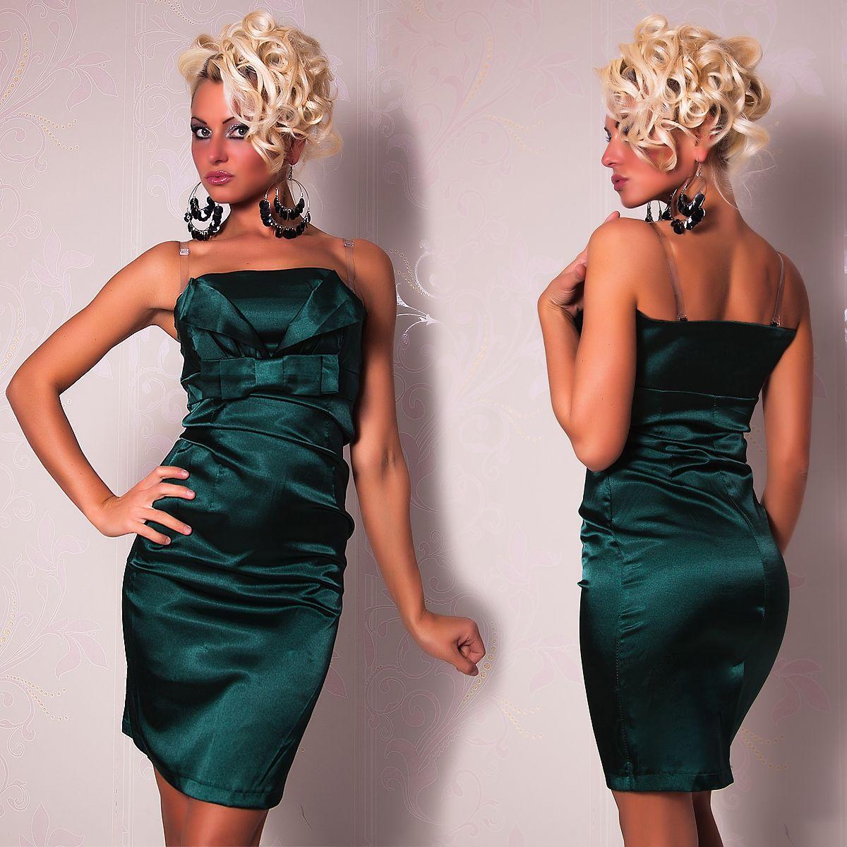 Зеленое платье с бантиком (42) Catch Fashion 4801b