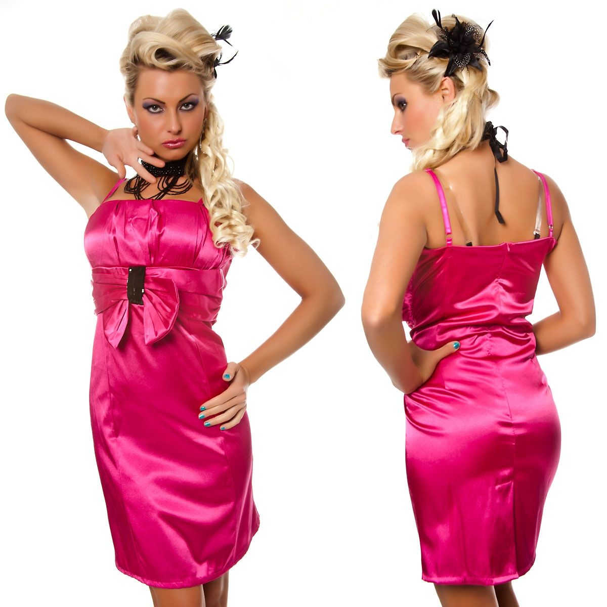 Розовое облегающее платье (46) - Платья для клуба, р.46