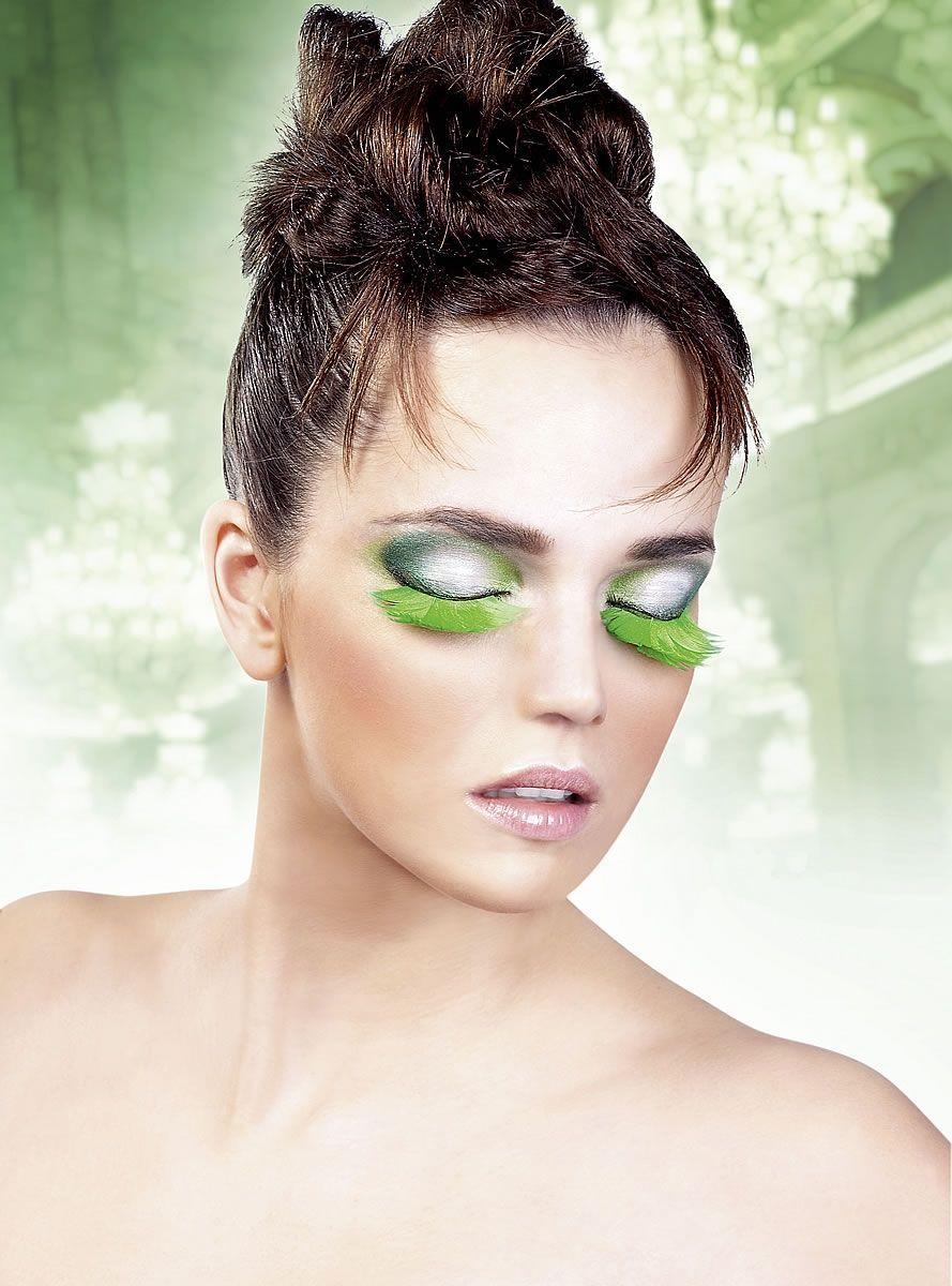 Ресницы зеленые перьевые - Аксессуары на карнавал