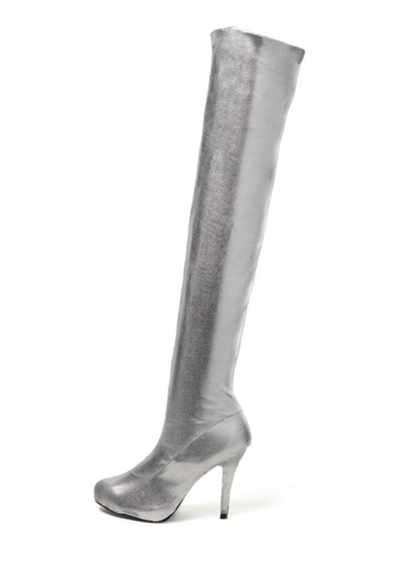 Серебряные ботфорты (40) - Туфли для стриптиза, р.40