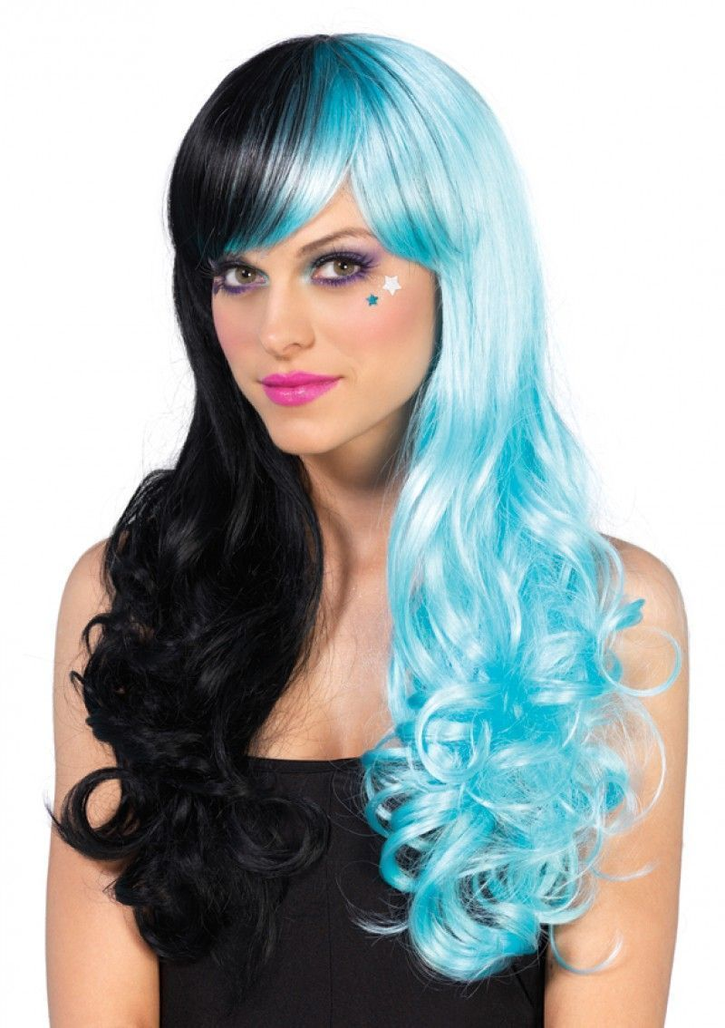 Черно-голубой длинный парик парик для волос