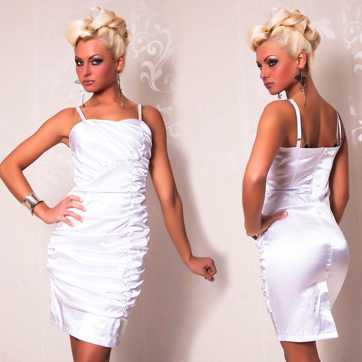 Атласное платье со складками белое (46) - Коктейльные платья, р.46