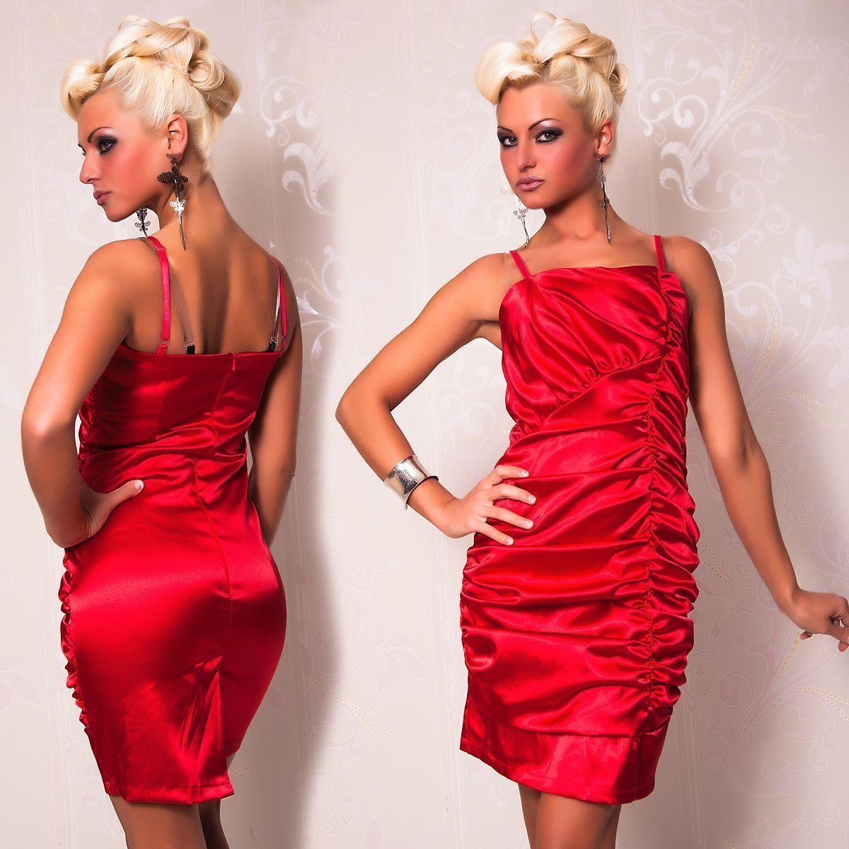 Атласное платье со складками красное (46) - Коктейльные платья, р.46