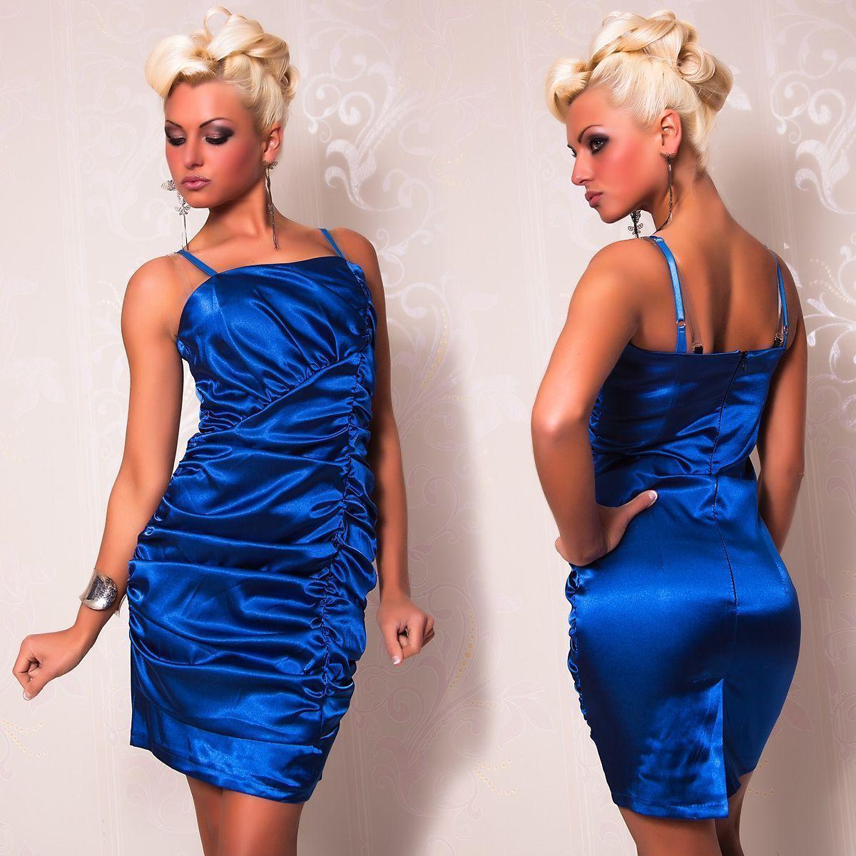 Атласное платье со складками синее (46) - Коктейльные платья, р.46