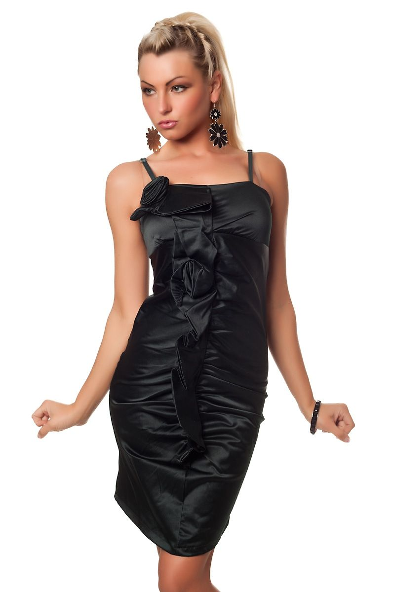 Платье с цветами черное (40) - Коктейльные платья, р.40