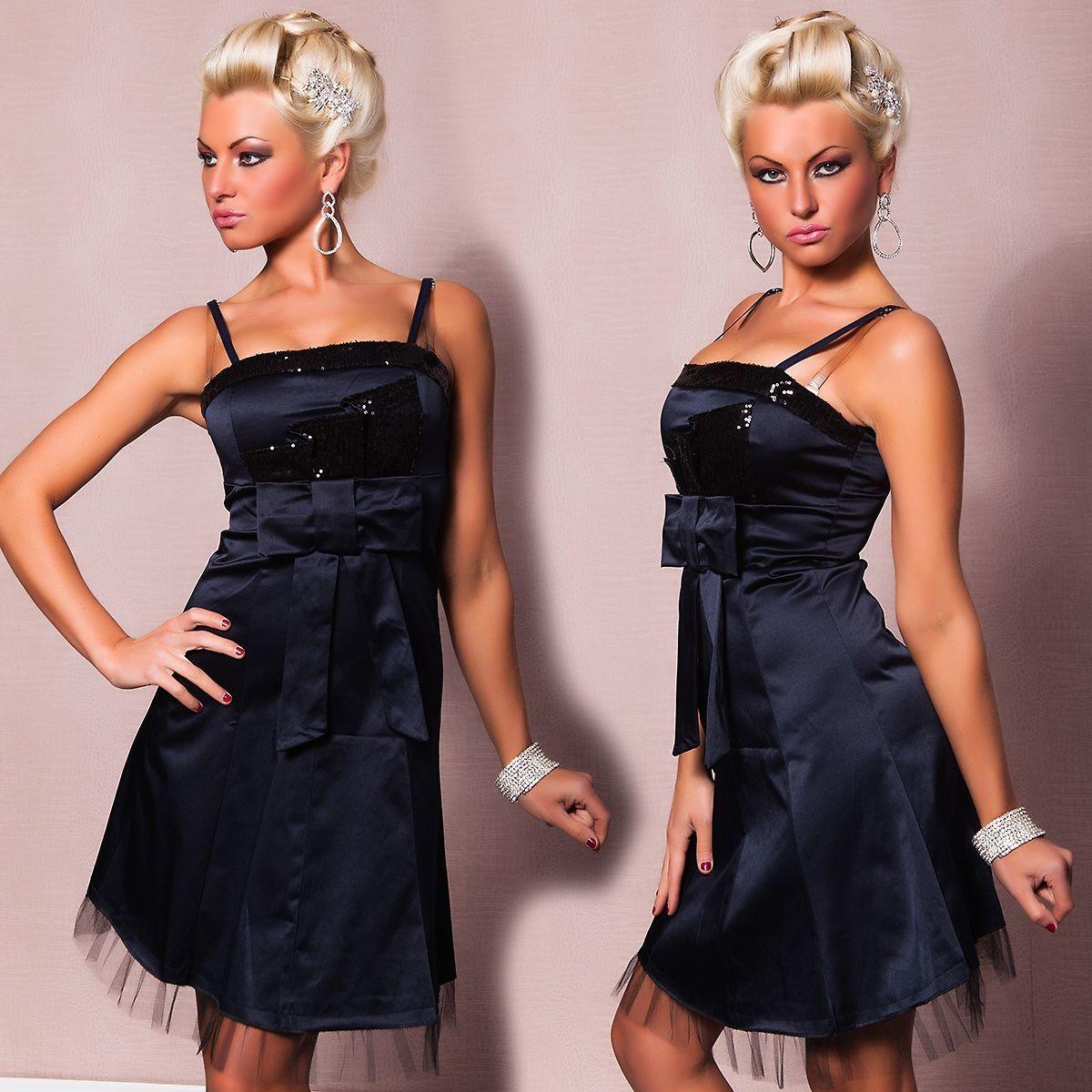 Платье с бантом темно-синее (44)