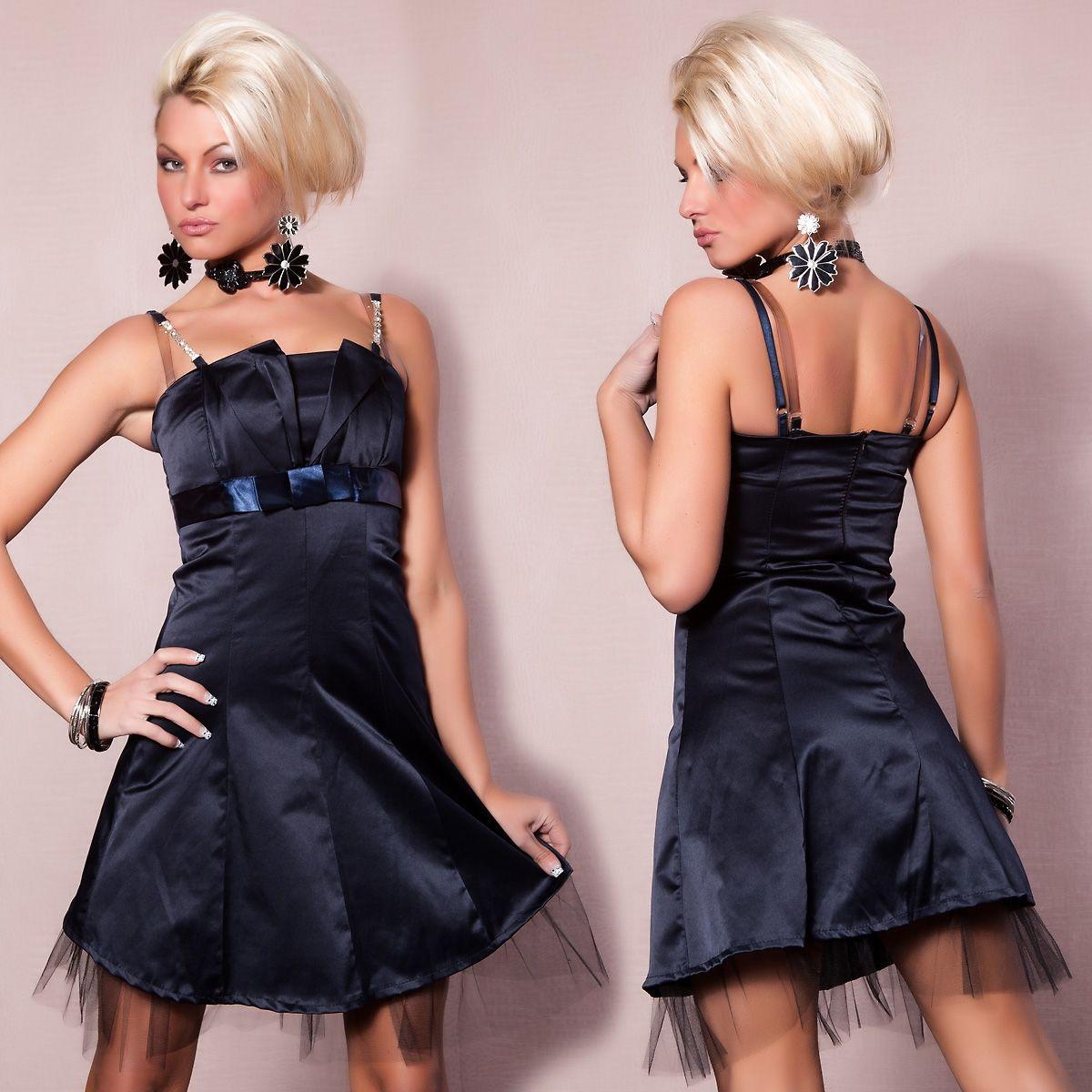 Платье с серебряными бретельками синее (46) - Платья для клуба, р.46