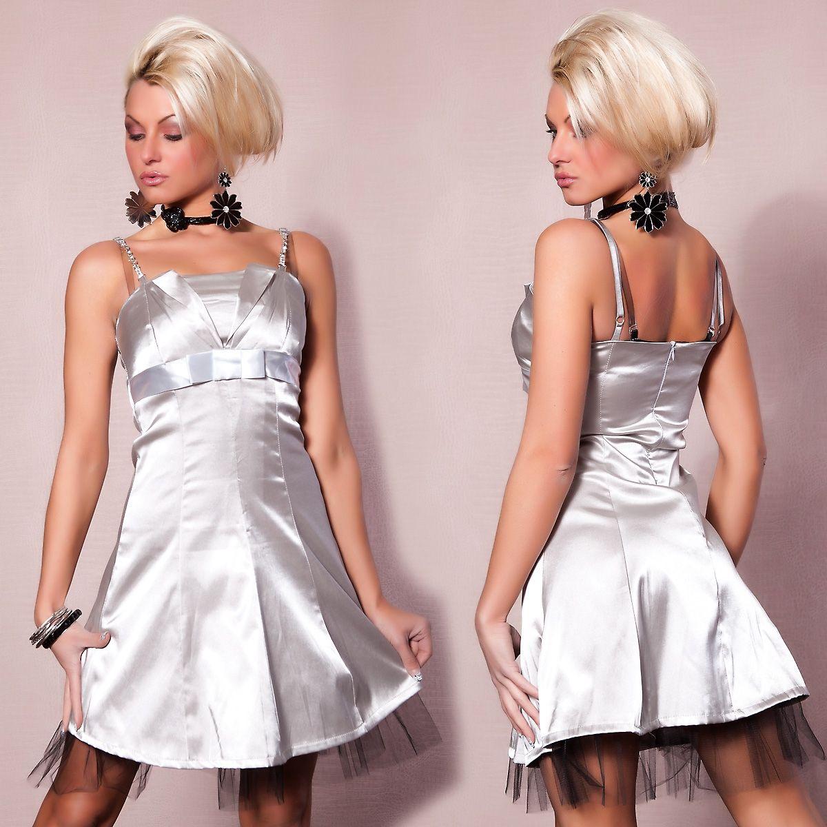 Платье с сетчатым подолом серебряное (46) - Платья для клуба, р.46
