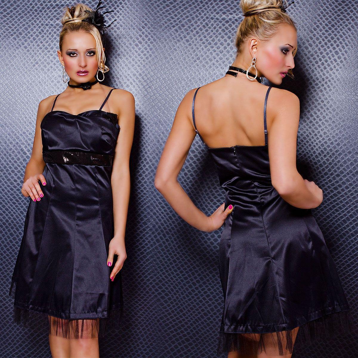 Темно-синее платье с блестящим поясом (42)