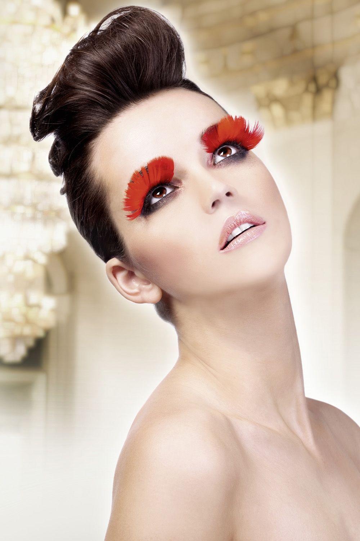 Красные ресницы из перьев (UNI) - Грим и шрамы