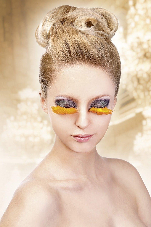 Оранжевые ресницы из перьев (UNI) - Грим и шрамы