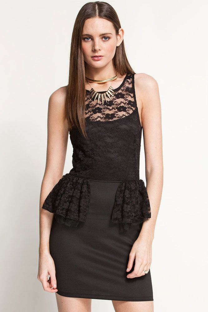 Платье черное с баской из кружева (40-44) - Платья для клуба, р.40-44
