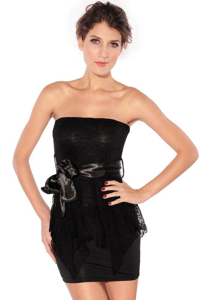 Платье черное с кружевной баской (40-44) - Платья для клуба, р.40-44