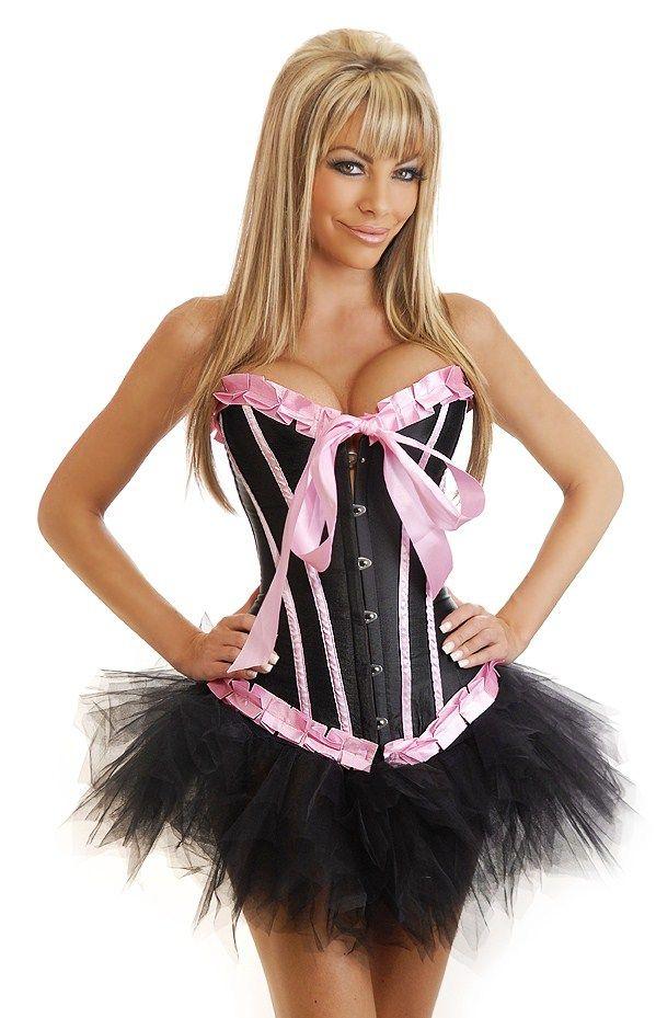 Корсет черно-розовый с юбкой (46) корсет бельевой на шнуровке