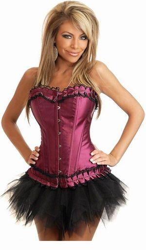 Корсет розовато-лиловый с юбкой (42) -  Корсеты с чашечками