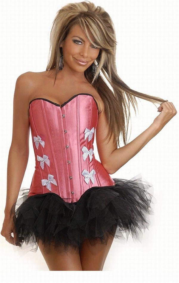 Розовый корсет с белыми бантами и юбкой (42) -  Корсеты с чашечками