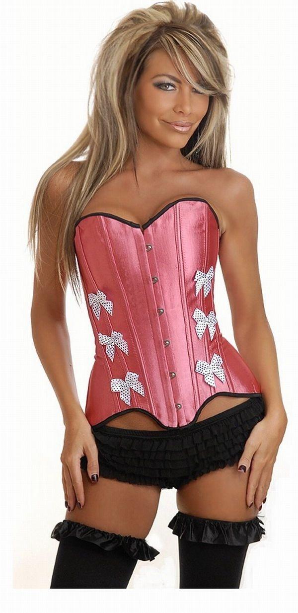 Розовый корсет с белыми бантами (50) корсет бельевой на шнуровке