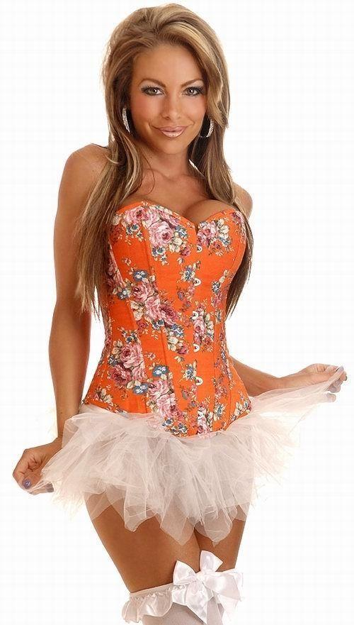 Оранжевый корсет с цветочным принтом (44)