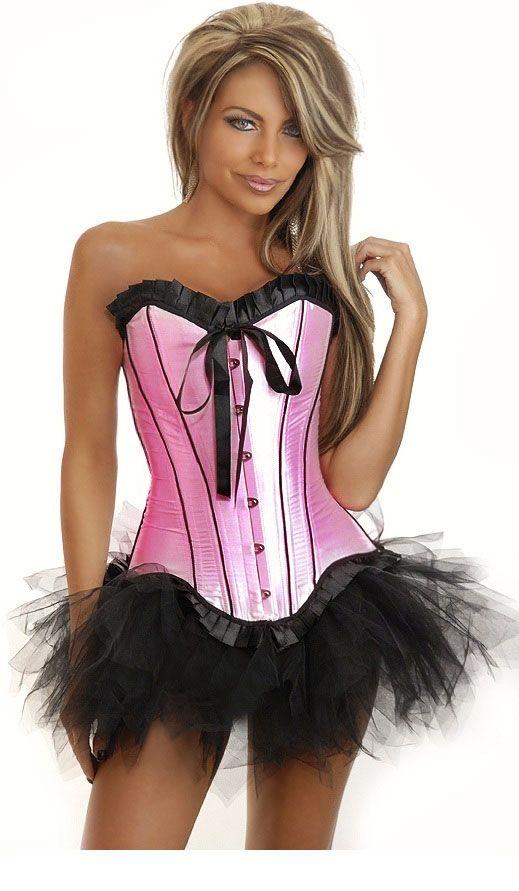 Розовый корсет на застежках с юбкой (48)