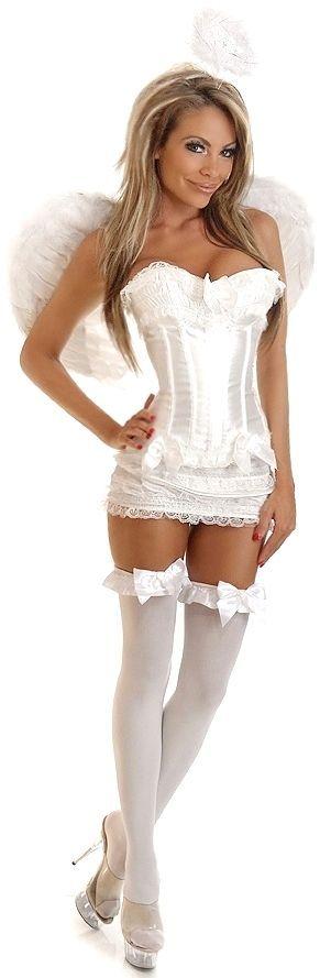 Корсетный костюм белого ангела (50) - Ангелочки и ангелы, р.50