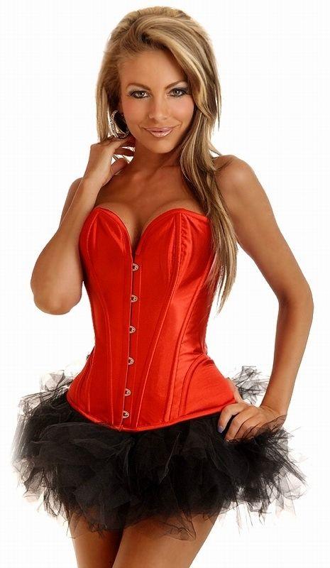 Красный корсет без бретелек с юбкой (50) корсет без шнуровки