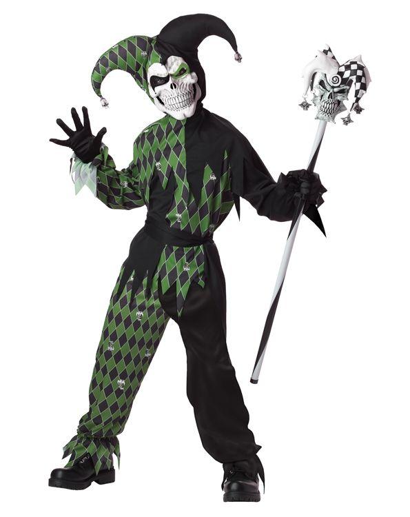 Детский костюм дьявольского шута черно-зеленый (38-40) - Нечистая сила, р.38-40
