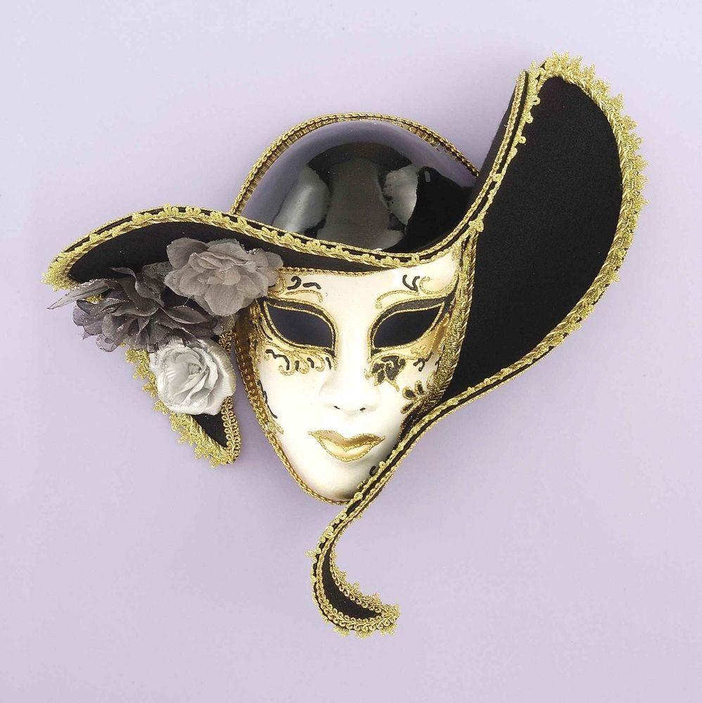 Белая венецианская маска со шляпой - Карнавальные маски