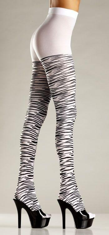 Черно-белые колготки зебра (46) - Чулки и колготки, р.46