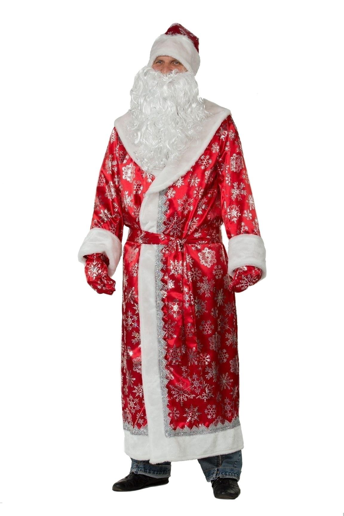 Сатиновый красный костюм Деда Мороза (56) - Новогодние костюмы, р.56