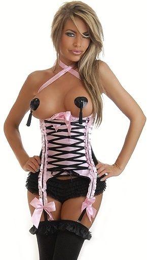 Корсет розовый под грудь со шнуровкой (50) - Корсет на талию, р.50