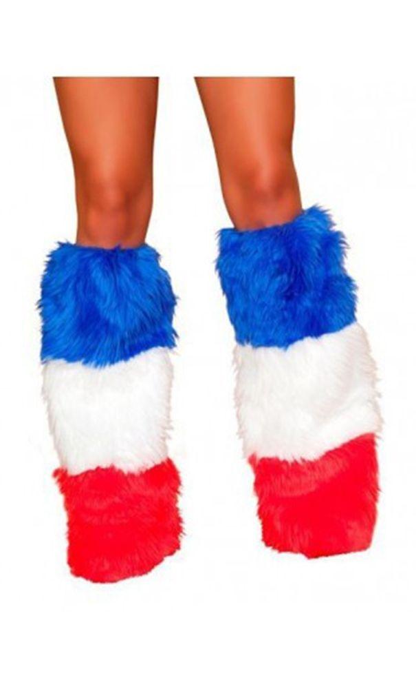 Пушистые трехцветные гетры - Аксессуары на карнавал
