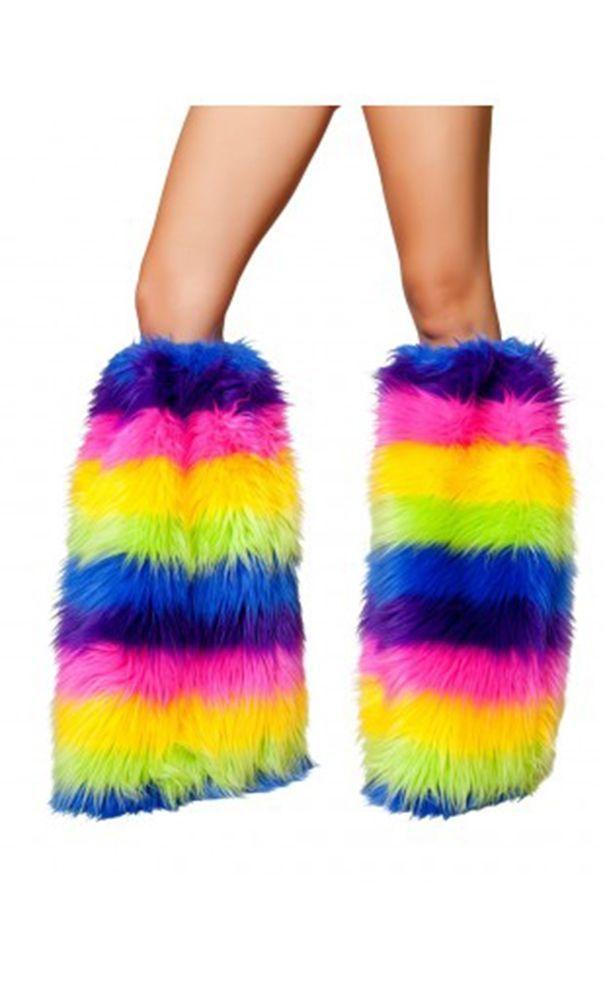 Радужные меховые гетры - Аксессуары на карнавал