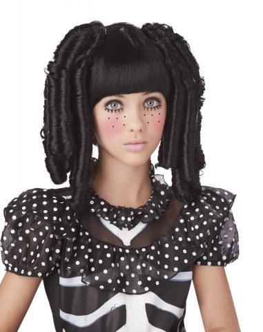 Черный парик с локонами и челкой (UNI)