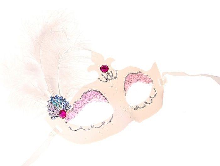Карнавальная маска белая с перьями от Vkostume