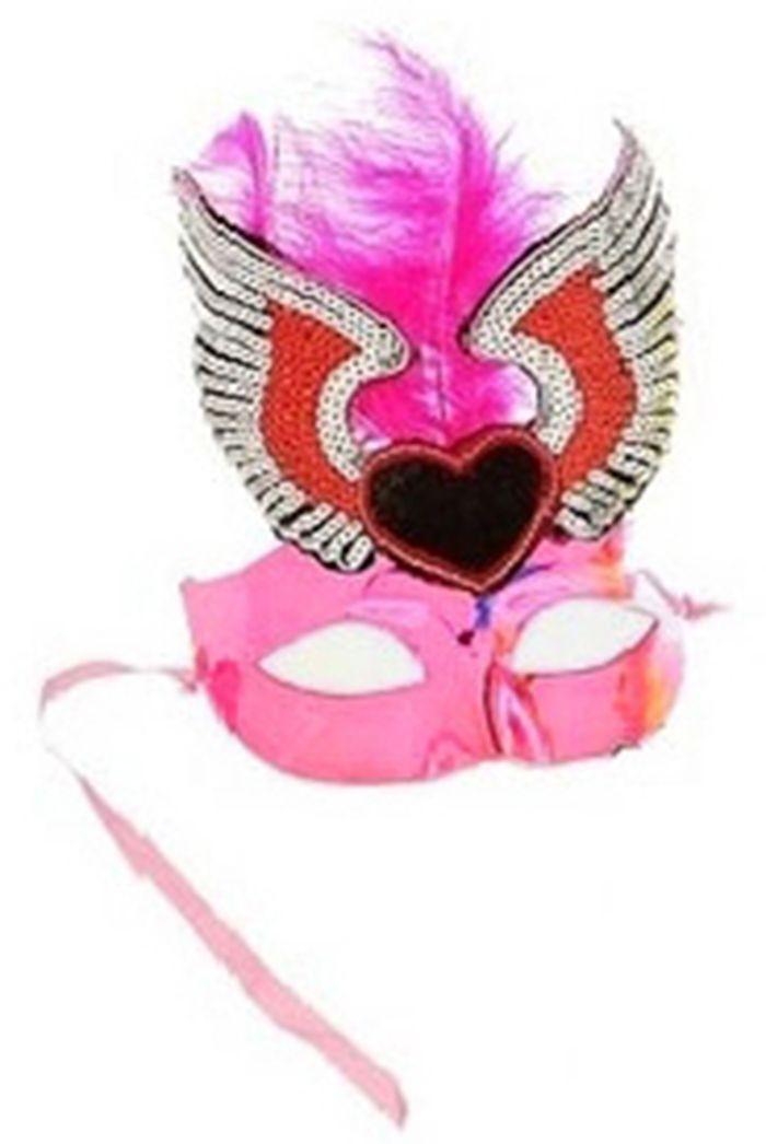Маска розовая с перьями и сердцем (UNI) маска с выпуклым носом розовая uni