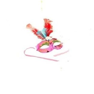 Маска гламур розовая с перьями от Vkostume