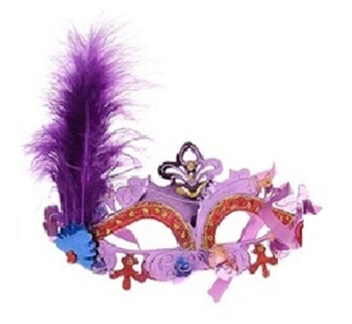 Маска нежность с пером фиолетовая - Карнавальные маски