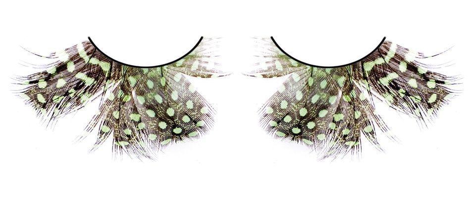 Ресницы зеленые в крапинку (UNI) диляра шкурко серое прозрачное в крапинку