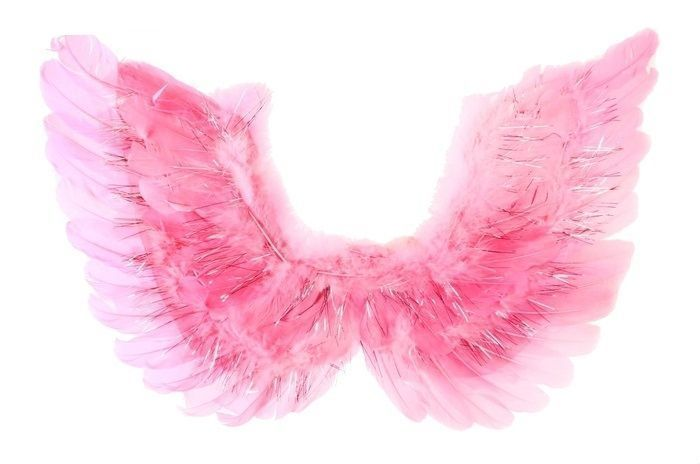 Крылья ангела розовые с мишурой