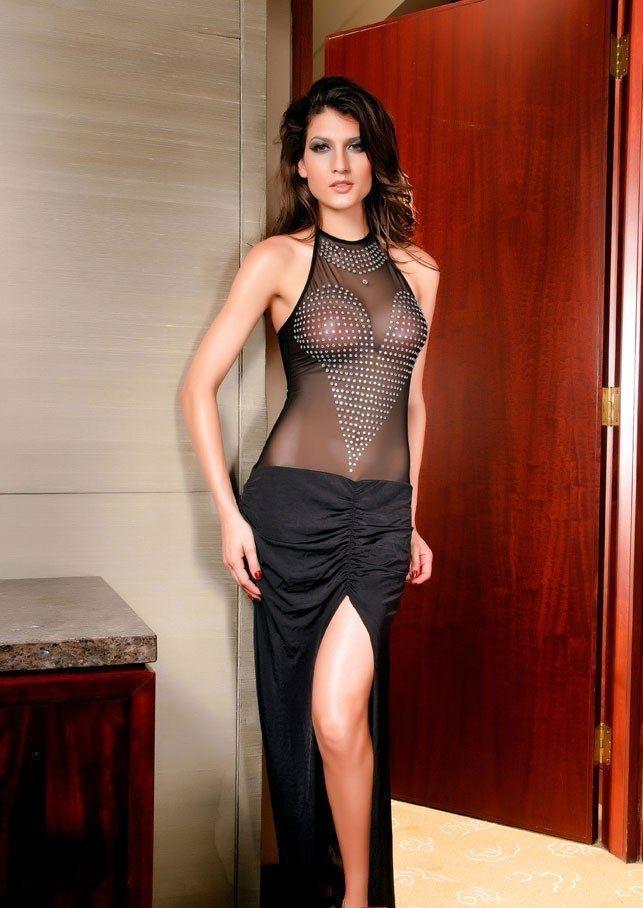 Черное платье со стразами (40-44) - Платья для Go-Go, р.40-44