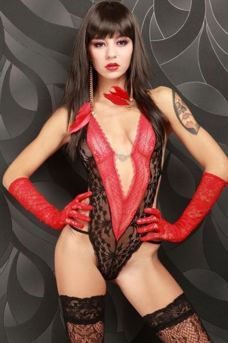 Черно-красное открытое боди (42) Mia Lover LC3150