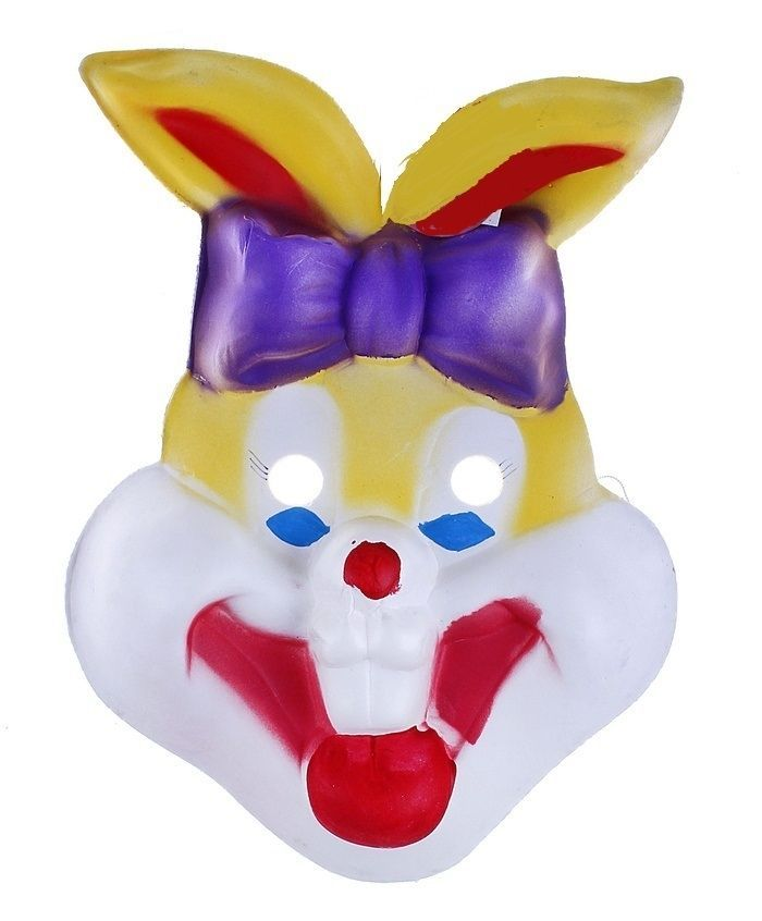 Маска зайчика-ушастика с бантом (UNI) плюшевая маска зайки uni
