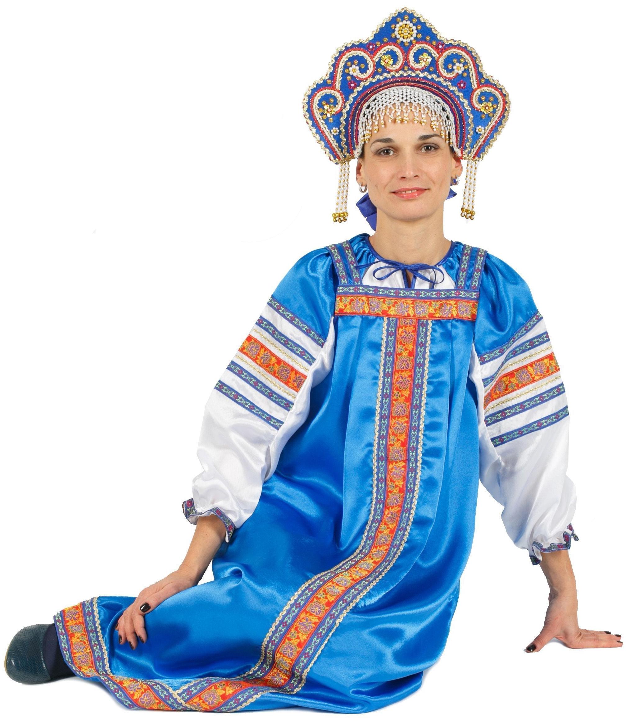 Костюм Марья синий для взрослых (60) костюм марья искусница